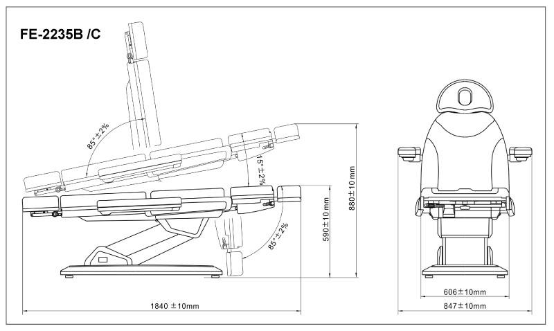 fe-2235b electric beauty bed  3 motor